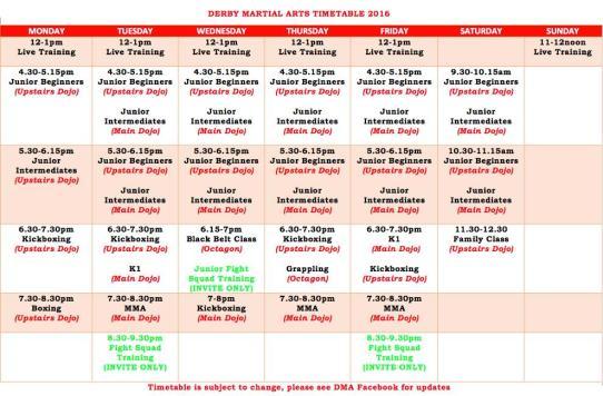 dma timetable